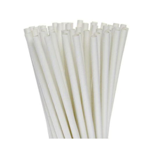 Bio PLA szívószál, lebomló és komposztálható, környezettudatos (fehér 500 db/cs 6,5 mm)